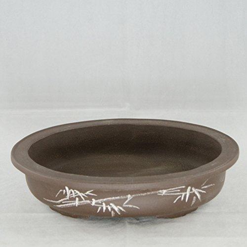 Etched Oval Yixing Zisha Bonsai Pot 14.25