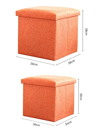Dasior Folding Cube Storage Ottoman,Solid Linen Collapsible Seat Stool Box Organizer Footrest Olive Green