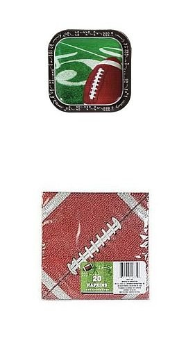 Football Themed Party Supply Pack - Square Paper Plates and Napkins