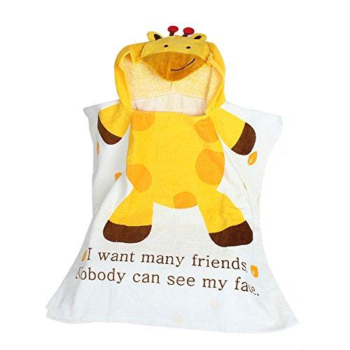 RETON Kids Hooded Bath Towel Cotton Bathrobe Cartoon Animals Towel for Babies Toddlers Infants 60x120CM(Giraffe)