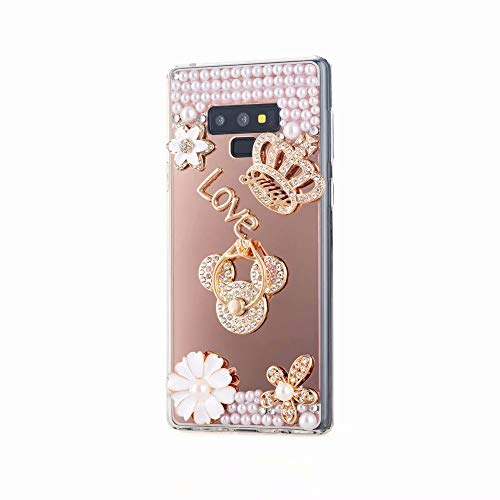 for Samsung Galaxy Note 9 Case,Galaxy Note 9 Mirror Cover,Ring Holder Function Luxury Pearl Bling Glitter Diamond Crystal Rhinestone Imperial Crown Flowers Design Phone Case with Lanyard,NO4