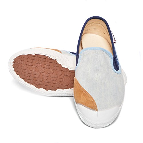 Kawasaki scarpe sneakers canvas 17-PRX2 Slip On Fantasy L.Denim white blue IT 38