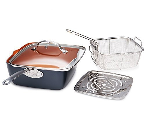 "Gotham Steel Titanium Ceramic 9.5"" Non-Stick Copper Deep Square Frying & Cooking Pan With Lid, Frying Basket, Steamer Tray, 4 Piece Set - Graphite"