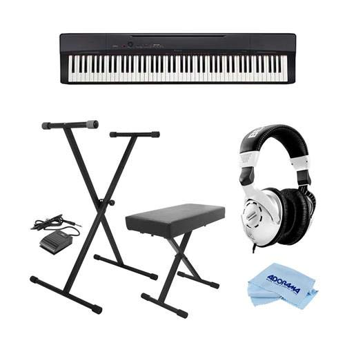 Casio PX-160 Privia 88-Key Portable Digital Piano, Black – Bundle With On-Stage KPK6520 Keyboard Stand/Bench Pack with Sustain Pedal, Behringer HPS3000 High-Performance Studio Headphones, Cloth