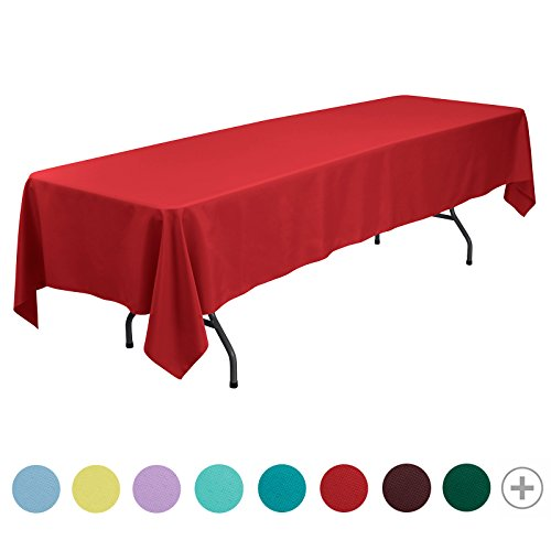 Polyester Rectangular Table - VEEYOO 60 x 126 inch Rectangular Solid Polyester Tablecloth for Wedding Restaurant Party Banquet Thanksgiving Reuseable, Red