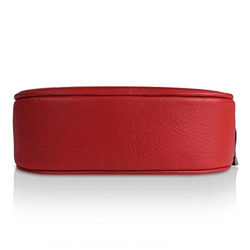 mano 015 Casual 3 a in Borsetta Donna Italy Glamexx24 Palle da elegante Rosso Borsa vera 009 Clutch 1 1 Made tracolla a 0RwqAnHY