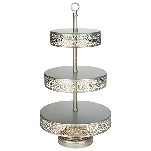 Collection Cake Plate (Victoria Collection Antique Silver 3 Tier Cupcake Stand, Round Metal Dessert Wedding Party Display Tower with Reversible Plates)