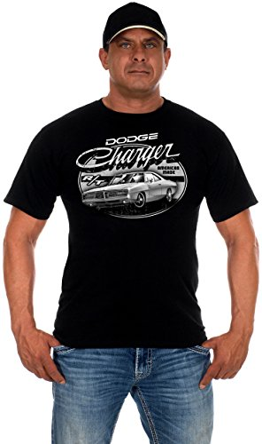 JH DESIGN GROUP Mens Dodge Charger T-Shirt with Exclusive American Flag Sticker (X-Large, Black) Dodge Charger T-shirt
