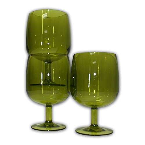 Table in a Bag 8-ounce Green Durable Plastic Wine Glasses (Set of 4)