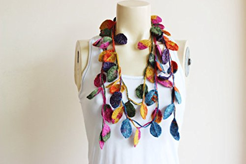 Leaves Necklace Scarf-Multicolor Crochet Necklace-Multicolor Lariat Scarf-Mohair Crochet Scarf with Gold Glitter- Autumn Scarf-Christmas Gift For Her Girlfriend Wife Mother (Gold Mohair)