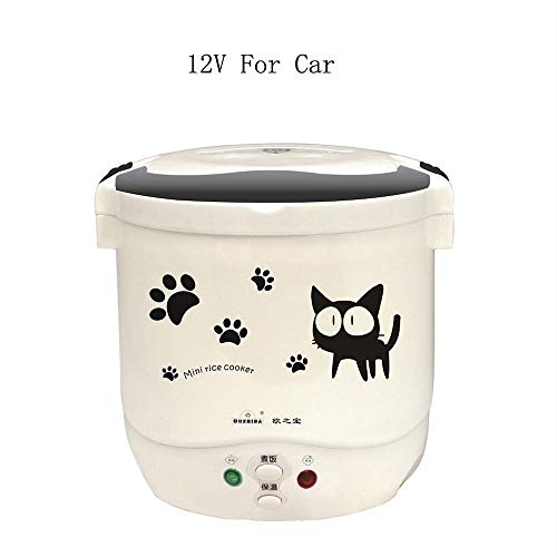 Multi-function(Cooking, Heating, Keeping warm) Mini Travel Rice Cooker 12V For Car (12v white) (Hello Kitty Rice Cooker)