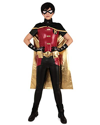 Miccostumes Men's Tim Drake Red and Black Robin Cosplay Costume Halloween Suit (M)]()