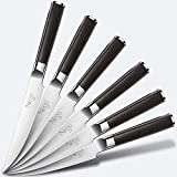 Steak Knives - 6Piece Steak Knife Set, 4.5 Inch Edge Blade Pointed Tip Table Knife German HC Stainless Steel Razor Sharpness Rust Protection Lightweight Neatly Slicing Classic Kitchen Cutlery