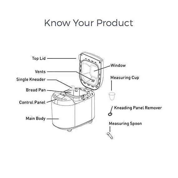 KENT - 16010 Atta and Bread Maker 550-Watt (Steel Grey) 5