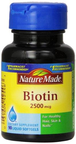 Природа Сделано Биотин 2500mcg, капсул, 90-Count