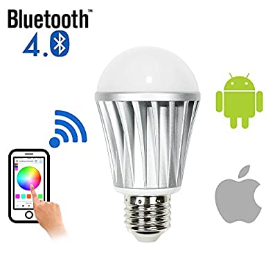 WYZworks Bluetooth Smart LED Dimmable Light Bulb - Andriod & iPhone iPad (iOS) Phone and Tablet App Controlled Multi-colored Color Changing Light (RGB + Warm & Cool)