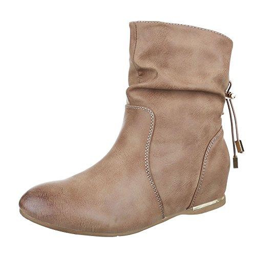 Ital-Design Keilstiefeletten Damen Schuhe Plateau Keilabsatz/Wedge Keilabsatz Stiefeletten Hellbraun