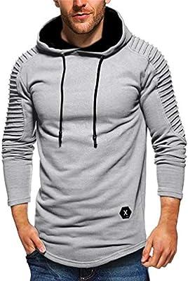 Men/'s Pullover Hoodie Pleated Long Sleeve Hooded T-Shirt Slim Fit Sweatshirt
