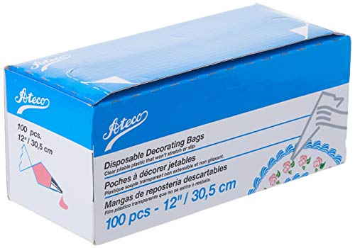 Ateco Disposable Decorating Bags, 12-Inch, Pack of 100,Clear