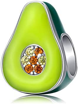 MZNSQB 925 joyería de Plata esterlina Esmalte Verde Aguacate Encanto para Pulsera de Plata Original 3mm joyería de Mujer HaciendoBSC129