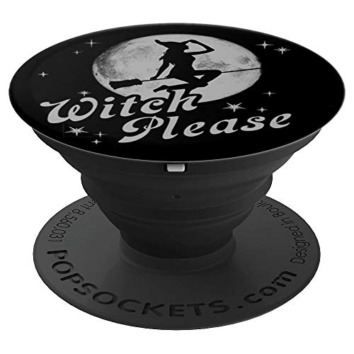 Halloween Witch Please Silhouette On The Moon - PopSockets Grip and Stand for Phones and Tablets]()