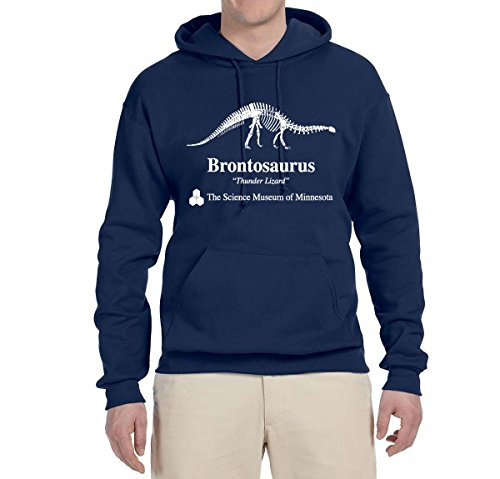 Wild Bobby Brontosaurus Science Museum of Minnesota  Strange Fan   Mens Pop Culture Hooded Sweatshirt Graphic Hoodie, Navy, 3XL