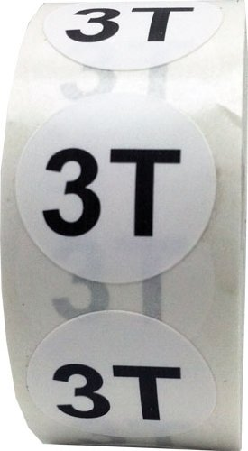 White Round Toddler Clothing Size Stickers 3T - Adhesive Labels for Apparel Retail - 500 Total