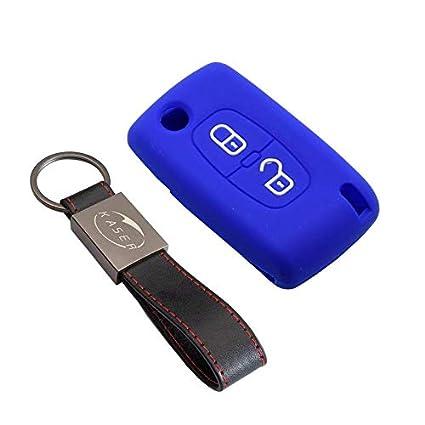 kaser Funda Silicona para Peugeot Citroen – Carcasa Llaveros 2 Botones para Coche 307 207 407 308 C1 C2 C3 C4 Cover Case Protección Remoto Mando Auto ...