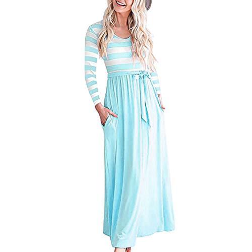 Acordonado Chic JIZHI Maxi Rayas Vestido Mujer XL De A Calle Vaina Lightblue xTCCYO7wq