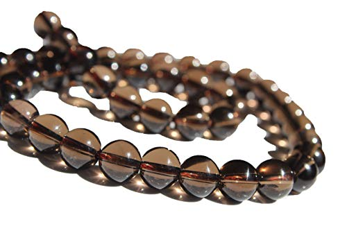 (Smoky Quartz 6mm, Natural, Energy Gemstone | Healing Power for Jewelry Making | Loose Beads | 1strand 15.5 inch (62-66 Beads) | Well Polished Round | Oxxysaon)