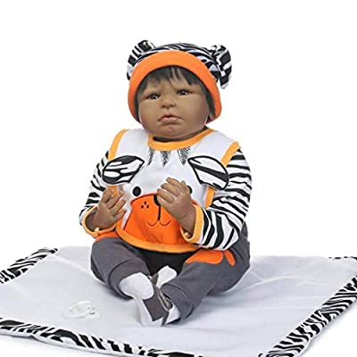 TERABITHIA 22 inch Black Silicone Vinyl Reborn Doll Alive Tiger Collectible African-American Newborn Baby Dolls: Toys & Games