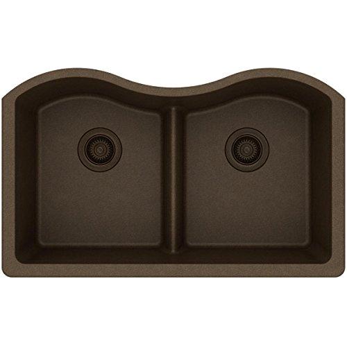Elkay Quartz Classic ELGULB3322MC0 Mocha Equal Double Bowl Undermount Sink with Aqua Divide