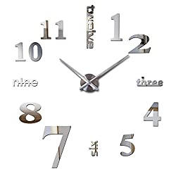 muhsein DIY Wall Clock 3D Clock Acrylic Big Watch Mirror Metal Frameless Wall Stickers Clocks Room Home Office Decorations