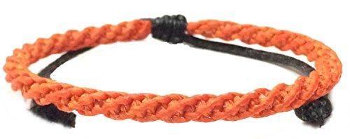 (Neon Orange Bradied Wax Mens Cotton Wristband Weave Thai Handcrafted Wristwear Bracelet)