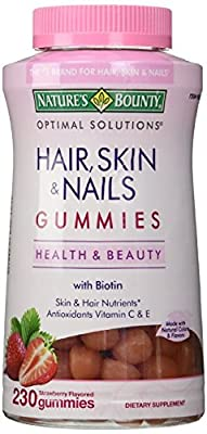 Natures Bounty Optimal Solutions Hair, Skin and Nails Gummies, 230 Count (1 Bottle)