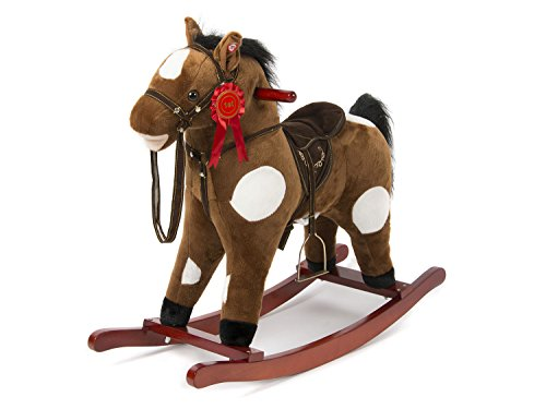 HollyHOME Plush Rocking Horse with Sounds for Kids Aged 3 Years Old Ride On Toy (Infant Bouncy Toy)
