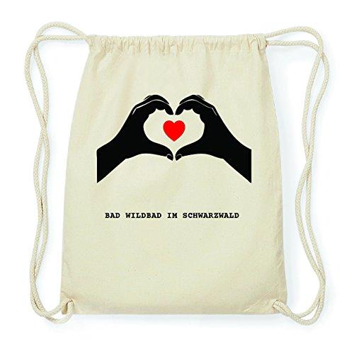 JOllify BAD WILDBAD IM SCHWARZWALD Hipster Turnbeutel Tasche Rucksack aus Baumwolle - Farbe: natur Design: Hände Herz