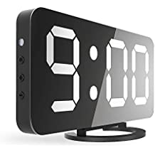 """CSHID-US Digital Alarm Clock, Large 6.5"""" LED Easy-Read Night Light Dimmer Display Electric Bedroom Clock with Snooze Function, Dual USB Charger Ports, Mirror Surface"""