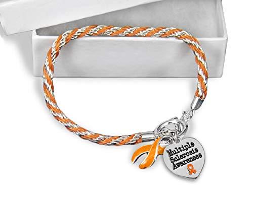 Multiple Sclerosis Awareness Orange Ribbon Rope Bracelet in a Gift Box (1 Bracelet - Retail) -