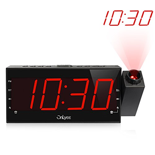 "OnLyee AM FM Radio Alarm Clock, Projection Ceiling Wall Clock, 7"" LED Digital Desk/Shelf Clock with Dimmer, USB Charging, AC Powered and Battery Backup for Bedroom, Kitchen, Kids"