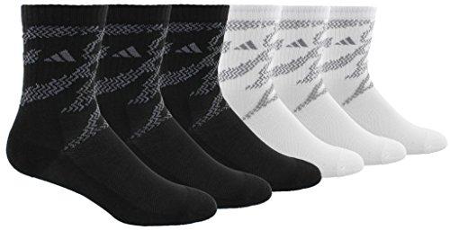 adidas Kids - Boys/Girls Tiger Style Cushioned Crew Socks (6-Pair), Black, 3Y-9