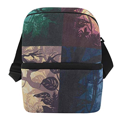 Lovexue Lunch Bag Beautiful Jungle Landscape Halloween Reusable Cooler Bag Adult Leakproof Food Storage Zipper Tote Bags for BeerCans -