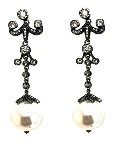 2018 20% OFF Black Rhodium Plated, Cubic Zirconia & Glass Pearl Earrings (Disney Pearl Earrings)