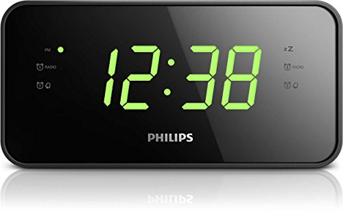 Philips Compact Digital AM/FM Alarm Clock Radio with Large Easy to Read Backlit LCD Display