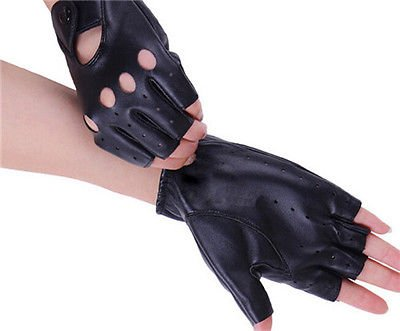 Mystyleshop Women Short Leather Gloves Half Finger Fingerless Dance Stage Cycling Driving