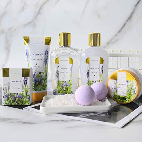 Spa Luxetique Spa Gift Baskets for Women, Lavender Bath Sets for Women, Luxury 8 Pcs Home Bath Gift Set Includes Body… 7