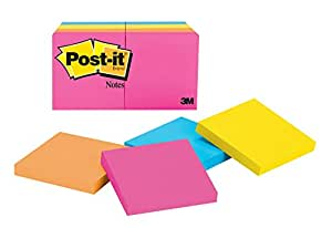 Post-it 3 x 3 Inches Neon Collection Notes, 8 Pads/Pack (654-8AN)