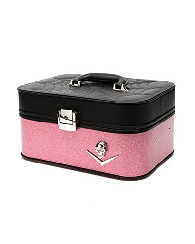 Lux De Ville Elvira Vanity Train Case Black Matte Pink Bubbly Sparkle Chevron and Skull spiderweb