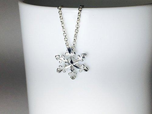 Diamond Cut Snowflake Pendant - Snowflake Necklace Sterling Silver Pendant Length 16