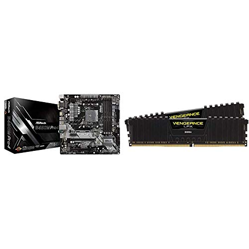 ASRock B450M PRO4 AM4 AMD Promontory B450 SATA 6Gb/s USB 3.1 HDMI Micro ATX AMD Motherboard Bundle with Corsair Vengeance LPX 16GB (2x8GB) DDR4 DRAM 3200MHz C16 Desktop Memory Kit - Black
